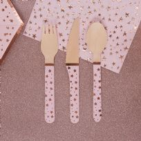 Glitz & Glamour Pink & Rose Gold Wooden Cutlery (24)